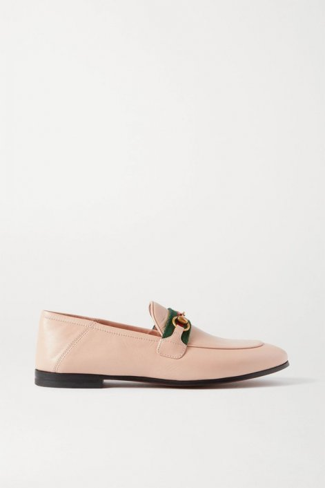 2730 gucci  cream-gucci-brixton-horsebit-detailed-webbing-trimmed-leather-collapsible-heel-loafers-1